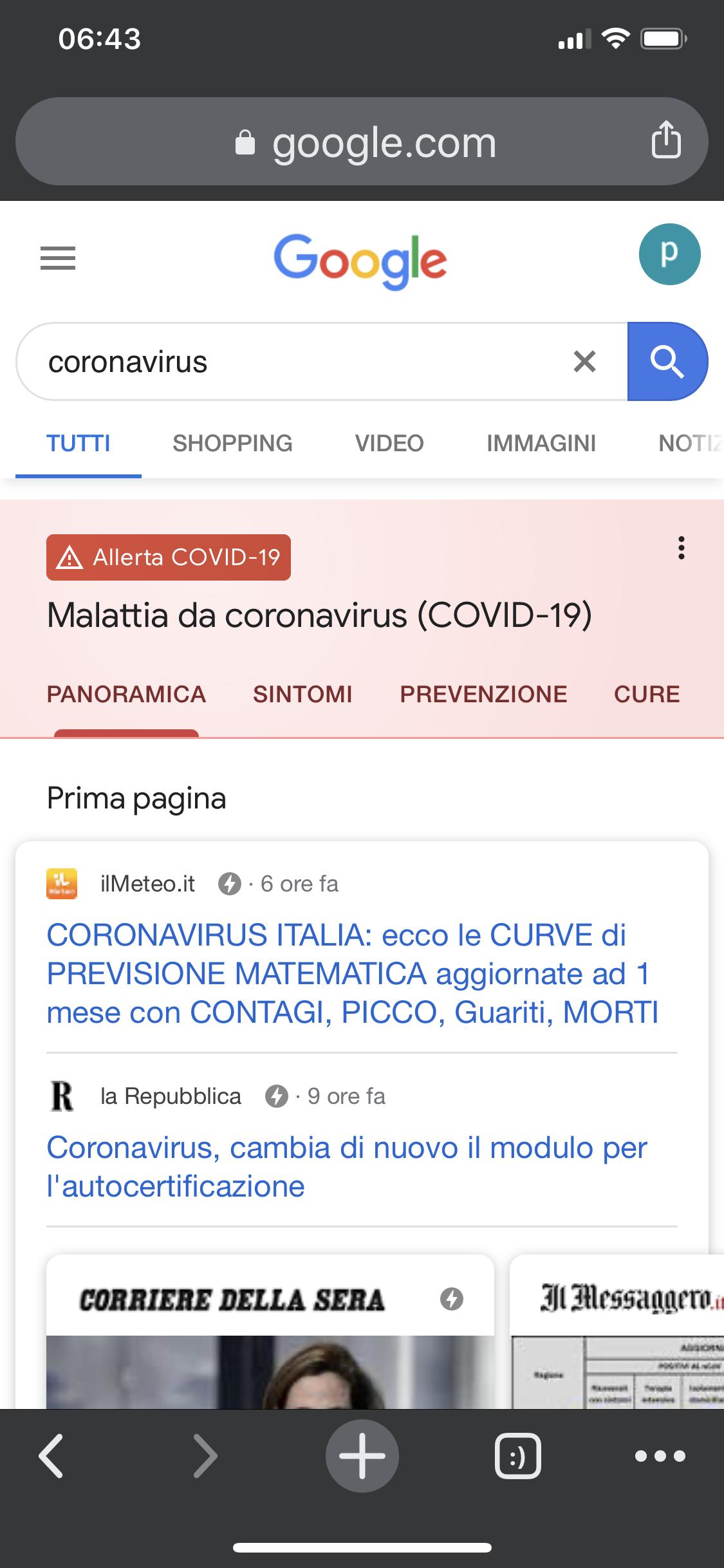 sezione google sul coronavirus