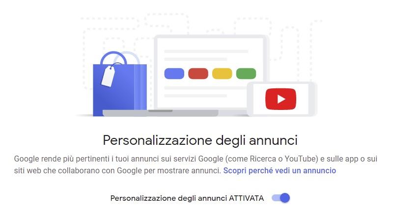 Personalizzazione degli annunci Google